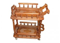 Hand Made Wooden Carved Serving Cart Handicraft Wooden Furniture