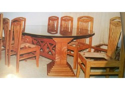 Dining Table with Glass flooring and  chair with cushine Carved Wooden Table online India