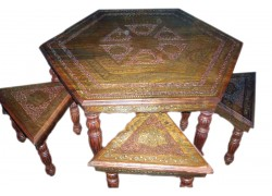 Carved Wooden Antique living room furniture table sets Carved Wooden Table online India